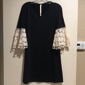 Uncle Frank Black Dress w/ Crotched Sleeves